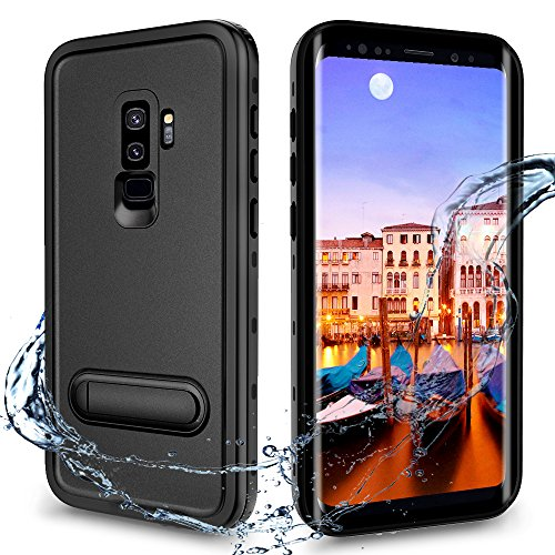 XBK Samsung Galaxy S9+ Plus Case, Waterproof Case with Built-in Screen Protector,Full-Body Rugged Resistant Protective Hard Cover Case for Galaxy S9 Plus (2018, 6.2inch) (Black&Stand)
