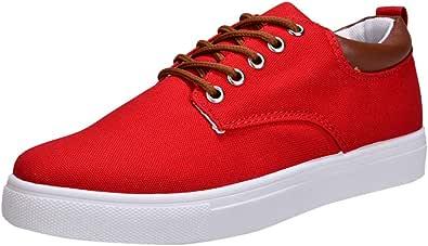 Zapatos Verano Hombre LANSKIRT Zapatillas Casual Hombre de Lona Calzado de Ocio para Estudiantes Cómodo Zapatos Combinados con Cordones Transpirables