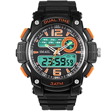 Mens Deportes Impermeable Reloj Multi-Función Reloj Digital Doble Mostrar Hombres Reloj Tendencia Moda Electrónica Al Aire Libre Deportes Impermeable ...