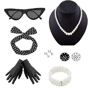 design senza tempo 165e9 0e1c1 Yansion 50 Anni Costume Accessories Set per Ragazza Donna Festa ...