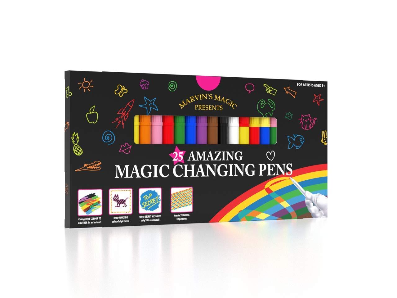 Marvin's Magic - Amazing Magic Pens | Colour Changing Magic Pen Art | Create 3D Lettering or Write Secret Messages | Includes 25 Magic Pens