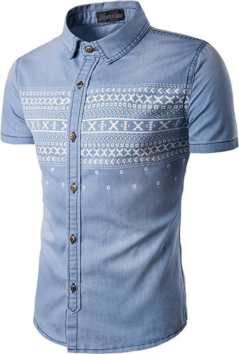 7dfab0f6382 jeansian Men s Retro Short Sleeve Button Down Denim Shirt 84P8 LightBlue XS