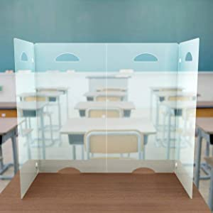 Sneeze Guard Desk Shield - Clear Plastic Divider Screen for Desktop, Table or Countertop - Portable, Durable Barrier Panel - Best PPE Partition Protector for Classroom or Office