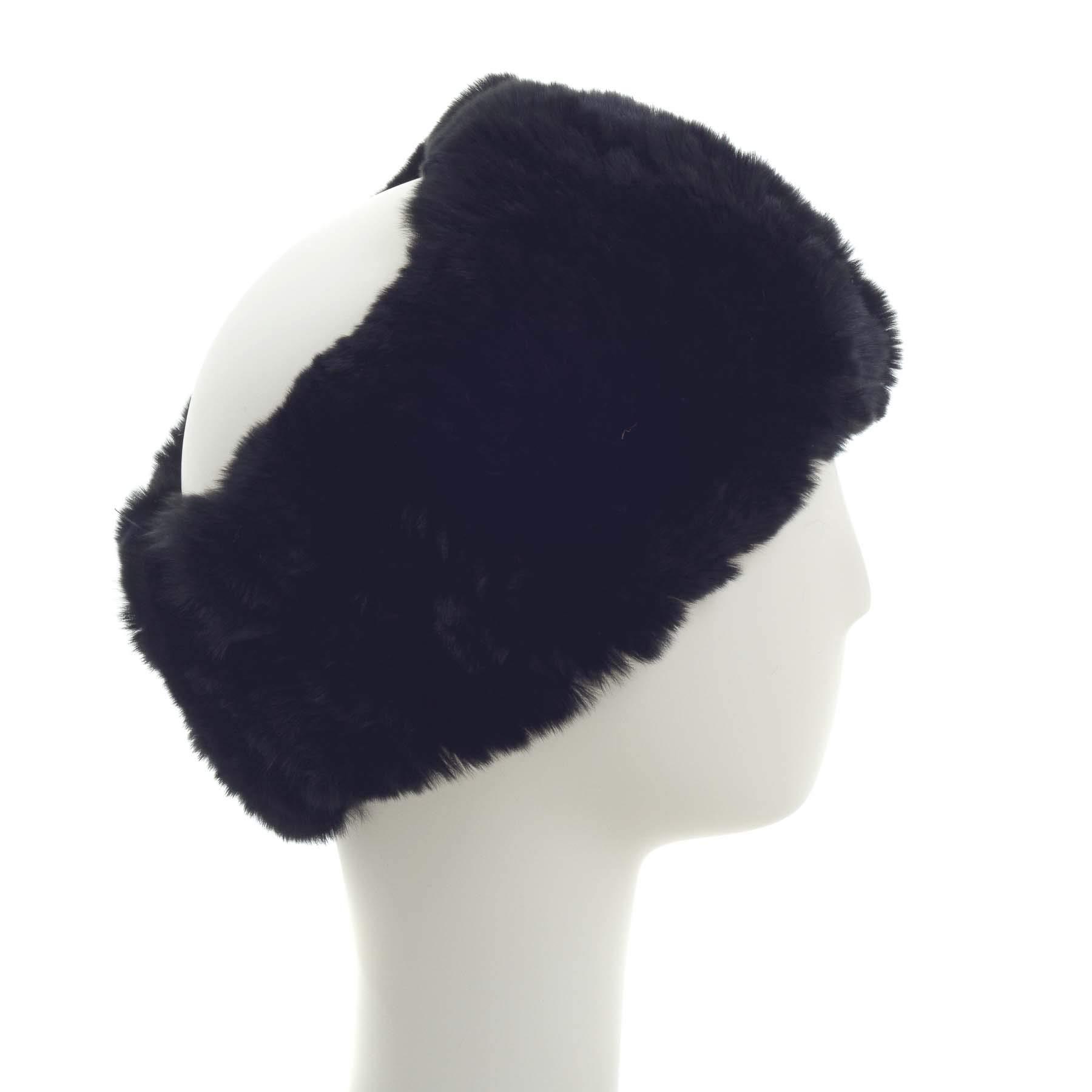 Surell Rex Rabbit Textile Knit Headband - Winter Scarf Ear Warmers - Luxury Gift (Black)