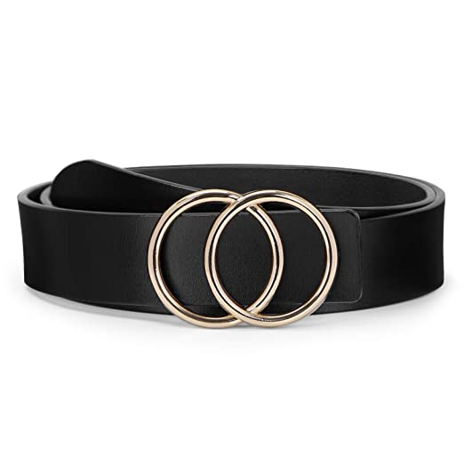 84309df7db0b4 Image Unavailable. Image not available for. Color: O ring Golden Buckle  Fashion Women Leather Belts ...