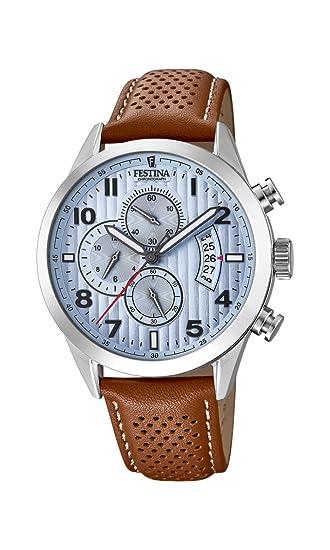 3cc771e7cc08 Festina Reloj Cronógrafo para Hombre de Cuarzo con Correa en Cuero  F20271 4  Amazon.es  Relojes