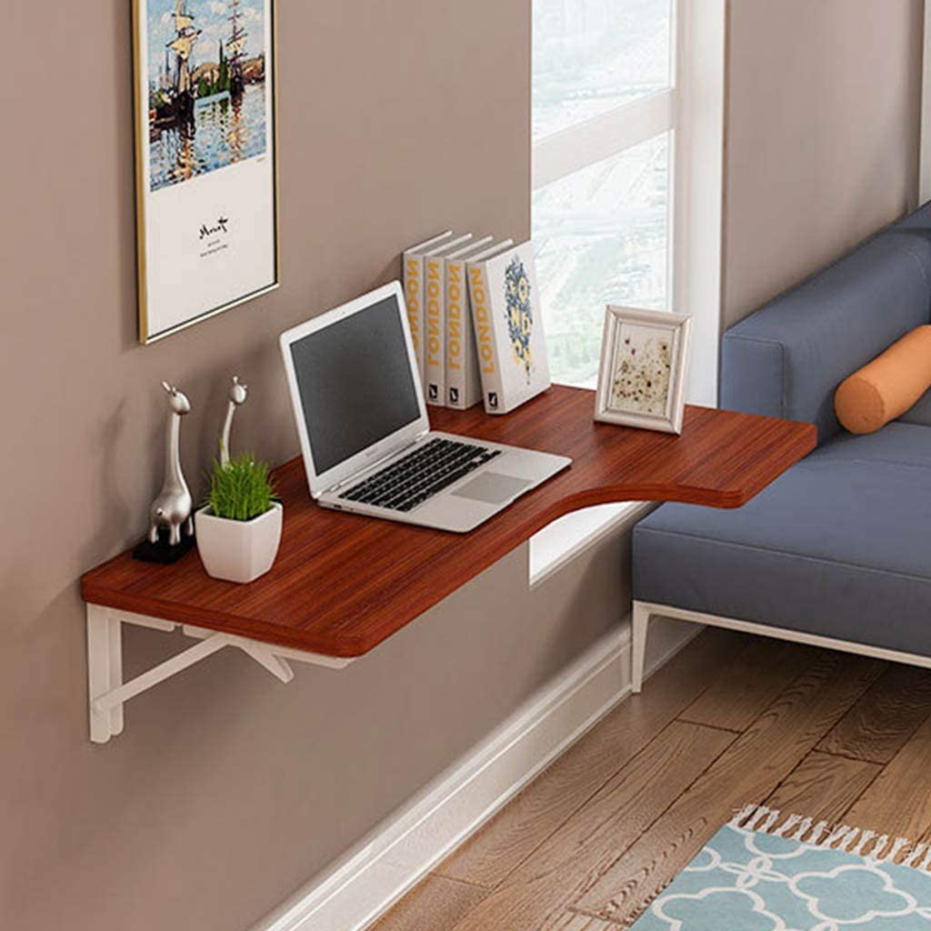 Wall-Mounted Folding Table, Floating Small Wooden Desk Desk Workstation Computer Desk, with 3 Metal Brackets Kitchen Dining Study Table for Office/Laundry Room