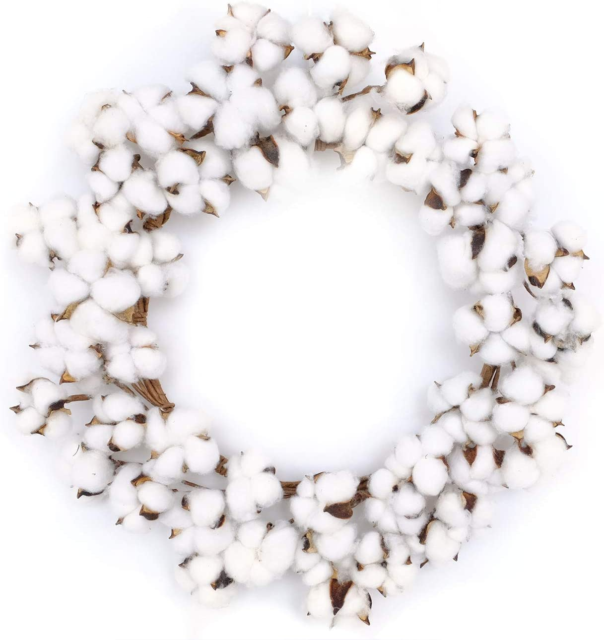 Bibelot 18inch Cotton Wreath Nature Cotton Bolls Farmhouse Decor for Front Door Wall Window Home Office Christmas Festival Hanging Decorations…