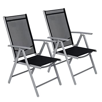 CCLIFE Juego sillas Plegables de Aluminio para jardín, terraza, Patio, Playa,Impermeables y Resistentes al Sol, Color:Light Gray, Tamaño:2pz-Set