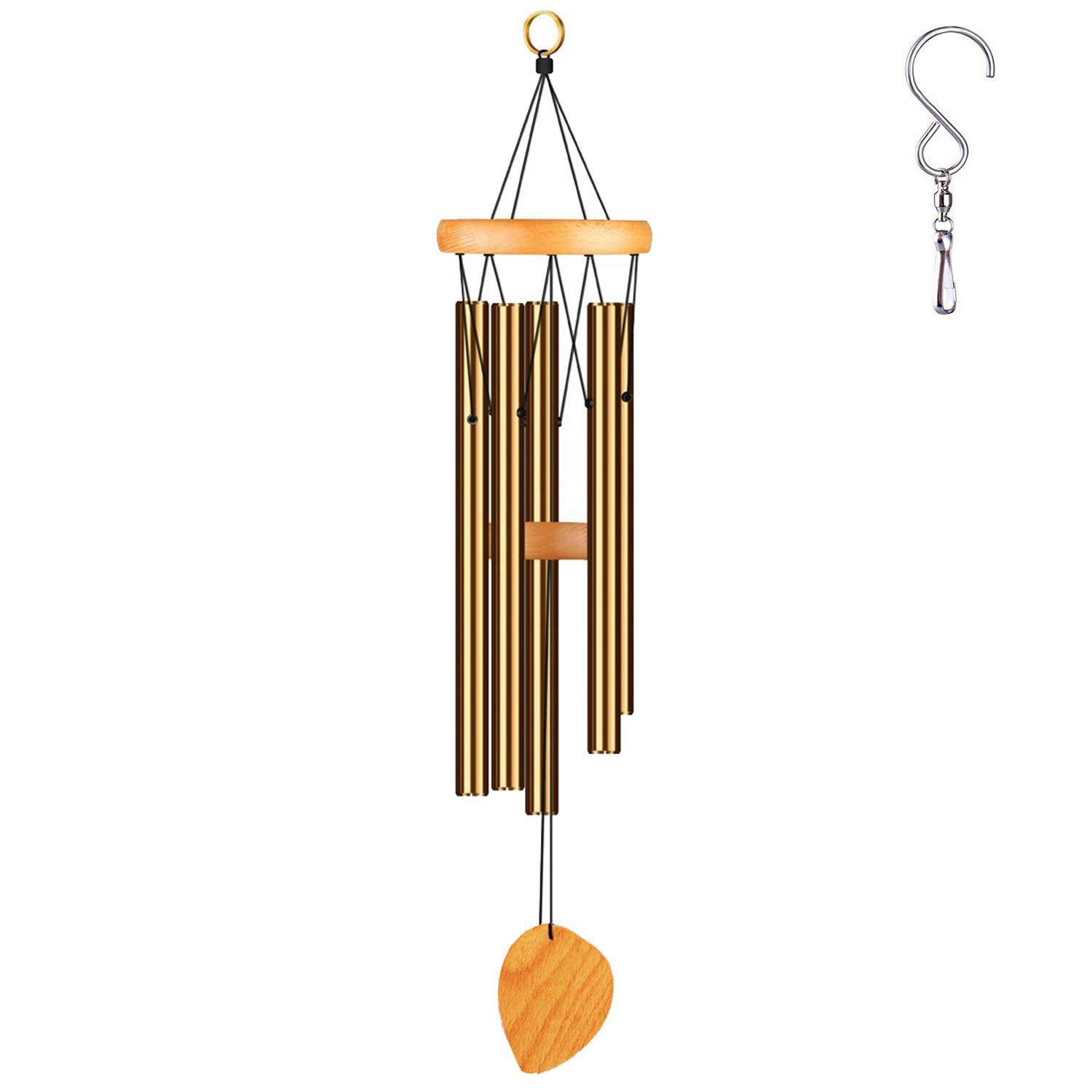 DateDirect Outdoor Wind Chime, Amazing Grace Wind Chimes for Garden, Yark,Patio and Home Décor with S Hook (24''-Bronze)