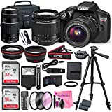 Canon EOS Rebel T6 DSLR Camera with EF-S 18-55mm f/3.5-5.6 IS II Lens & EF 75-300mm f/4-5.6 III Lens, Along with 32 & 16GB SDHC, and Deluxe Accessory Bundle with Camera Works cleaning Accessories
