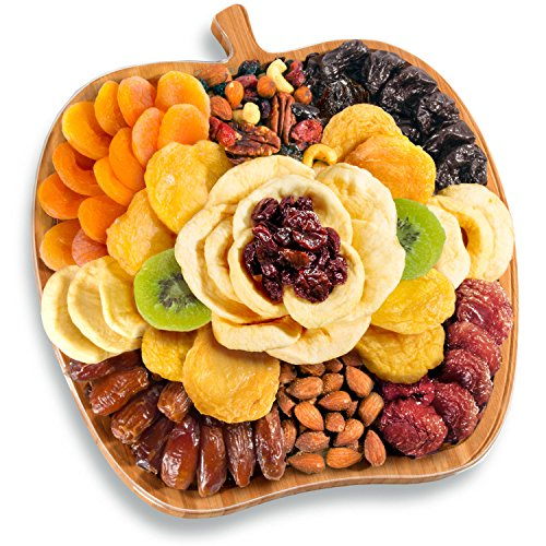 Golden State Fruit Dried Fruit and Nuts In Bamboo Apple Shape Serving Tray (Dried Fruit Platters)