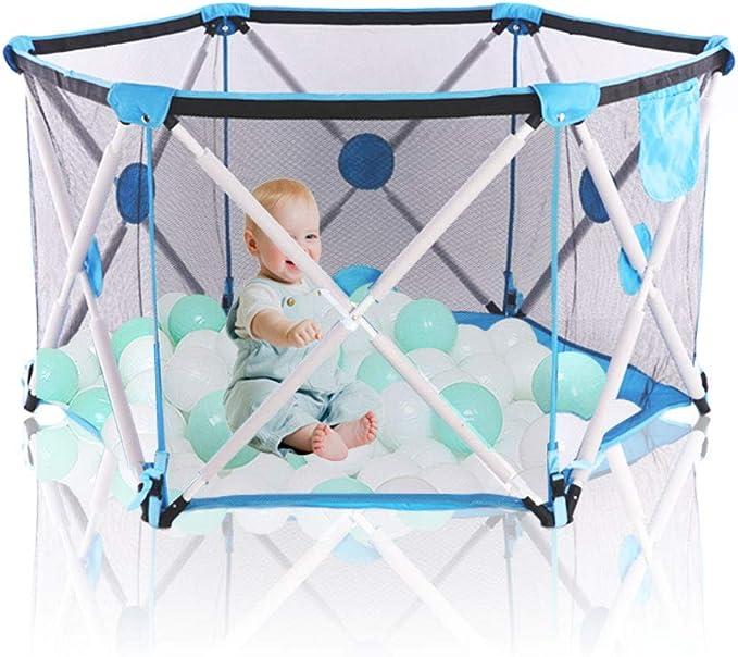 Parque infantil para bebés, parque infantil plegable y portátil para bebés, parque plegable hexagonal con malla transpirable, juegos en interiores y exteriores para edades de 0 a 4 años