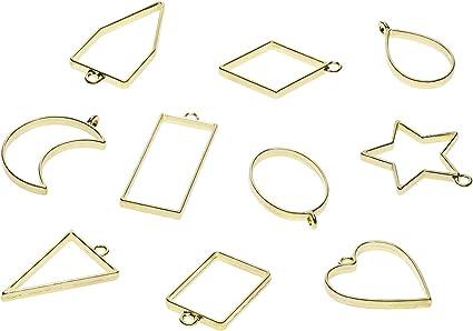 10Pcs Geometric Bezel Frame Hollow Pendant Resin Pressed Flower Jewelry Crafts