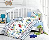 Dino Dinosaurs, 100% Cotton Baby Boys Crib Bedding, Baby Duvet Cover Set, Baby Comforter Included, Made in Turkey - 5 Pieces (Dino Blue)