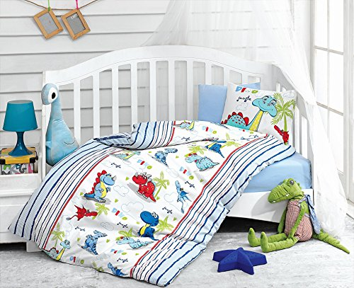 Dino Dinosaurs, 100% Cotton Baby Boys Crib Bedding, Baby Duvet Cover Set, Baby Comforter Included, Made in Turkey - 5 Pieces (Dino Blue) from Bekata
