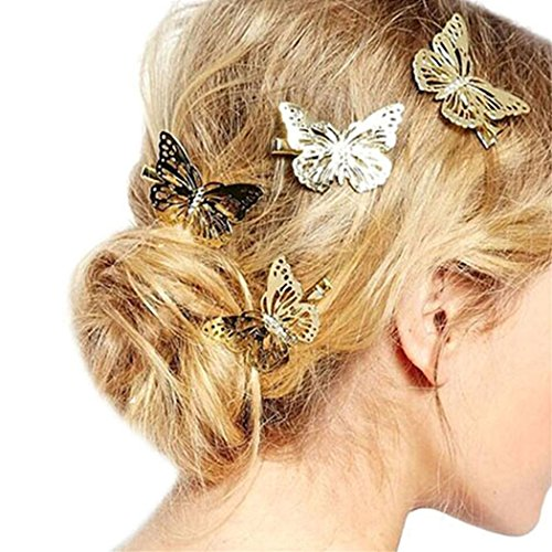 BESSKY 1 Pair of Golden Butterfly Hair Clip Headband Hair Accessories Headpiece from BESSKY