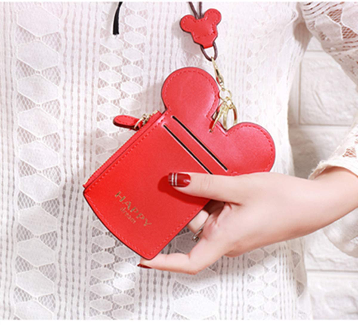 YIEASDA Travel Neck Pouch, Cute Small Fashion Student ID Card Case Holder Coin Wallet Purse for Women/Girls/Children (Red 2pack) by YIEASDA (Image #6)