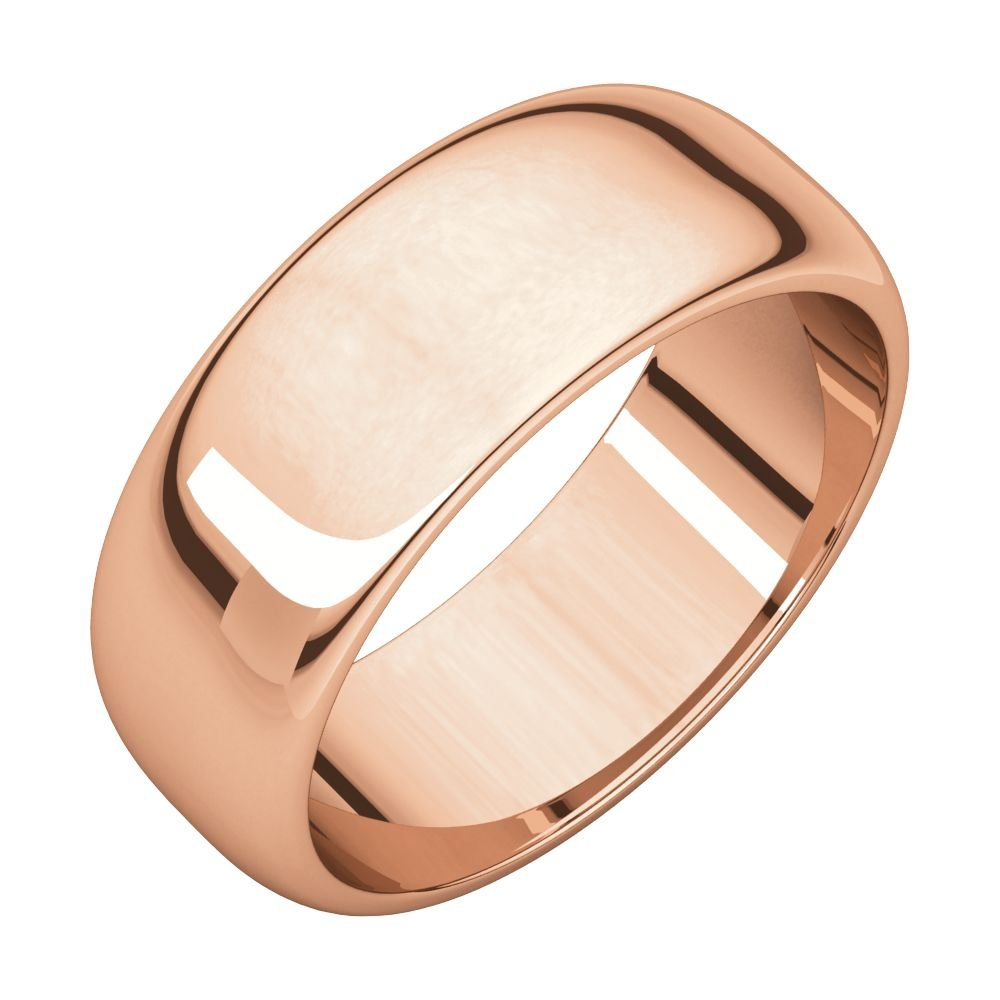 STU001- 14K Rose 7mm Half Round Wedding Band