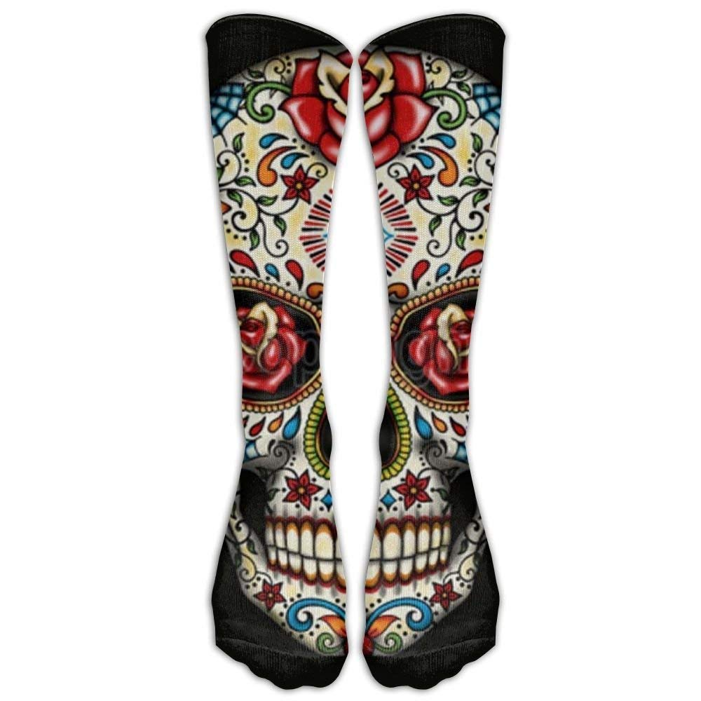 Nifdhkw Rosey Candy Skull Tube Socks For Women /& Men Flight Travel Skiing /& Maternity Pregnancy Boost Stamina /& Recovery Graduated Athletic Fit For Running Nurses