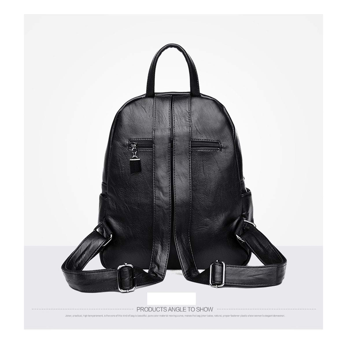 Sleek Minimalist. Black//Blue//Red//Purple//Bronze Haoyushangmao Girls Multifunctional Backpack for Daily Travel//Outdoor//Travel//School//Work//Fashion//Leisure PU Leather