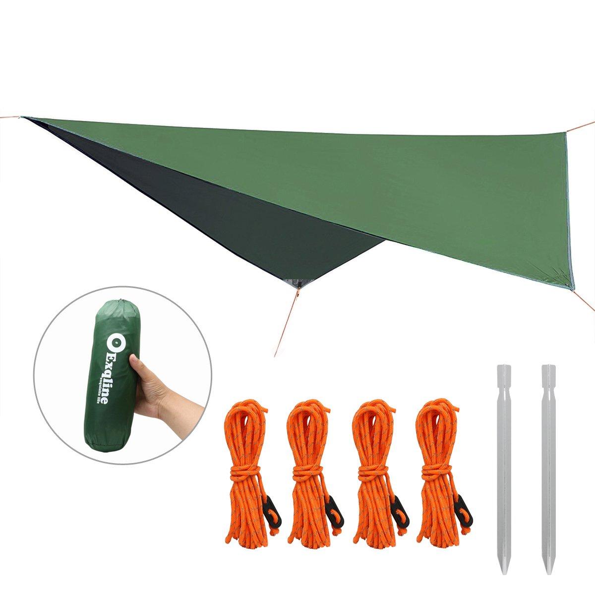 Exqline Hammock Rain Fly, Waterproof Ultralight Tent Tarp Sunshade Rain Tarp Shelter for Hiking Camping Backpacking