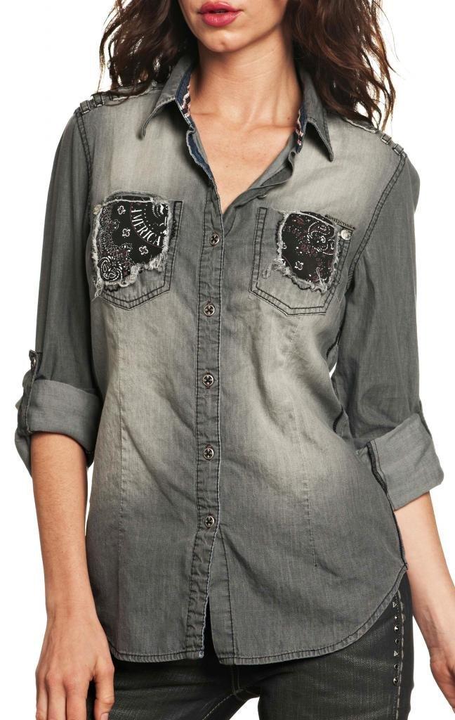 Affliction Love Struck Long Sleeve Shirt S Charcoal