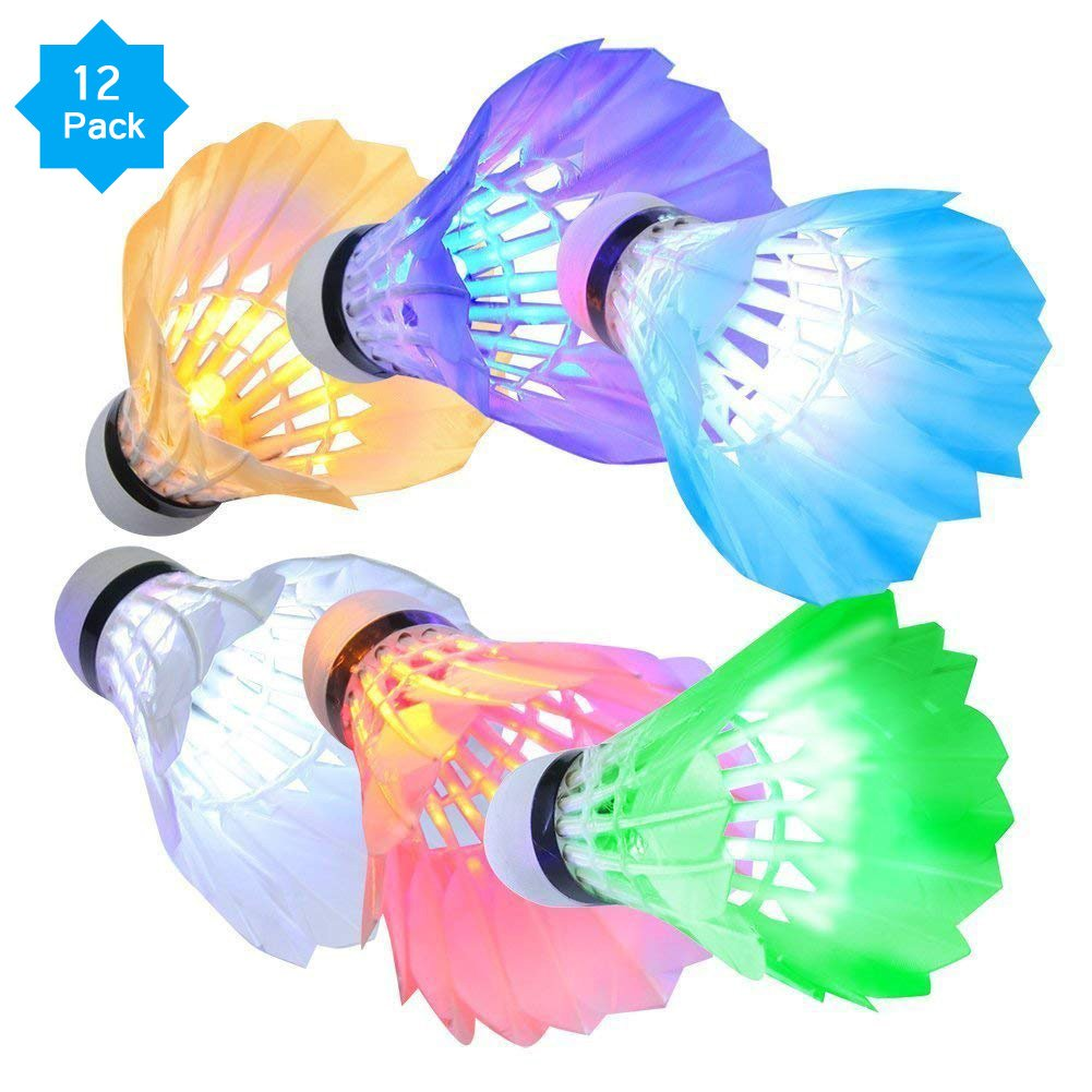 KEVENZ 12-Pack Advanced Goose Feather Badminton Shuttlecocks,Nylon Feather Shuttlecocks High Speed Badminton Birdies Balls with Great Stability and Durability (Multipul Color_12-Pack)