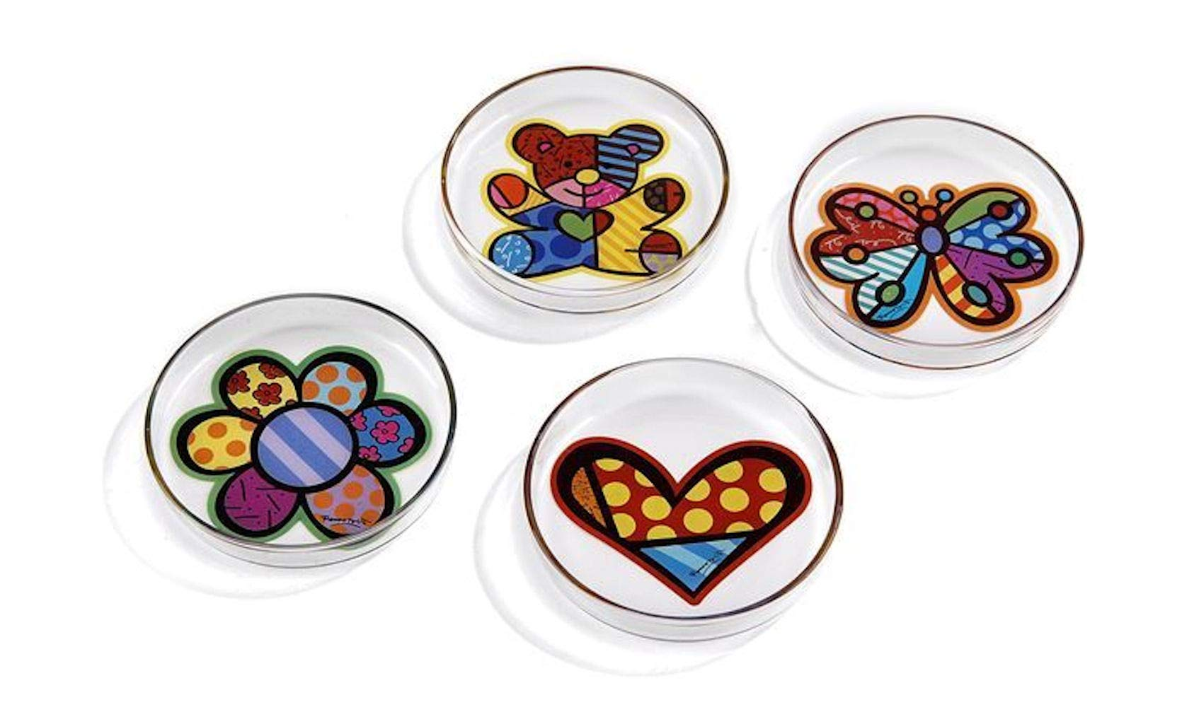 Romero Britto Set of 4 Glass Tea Bag Holders - Flower Teddy Bear, Heart, Butterfly