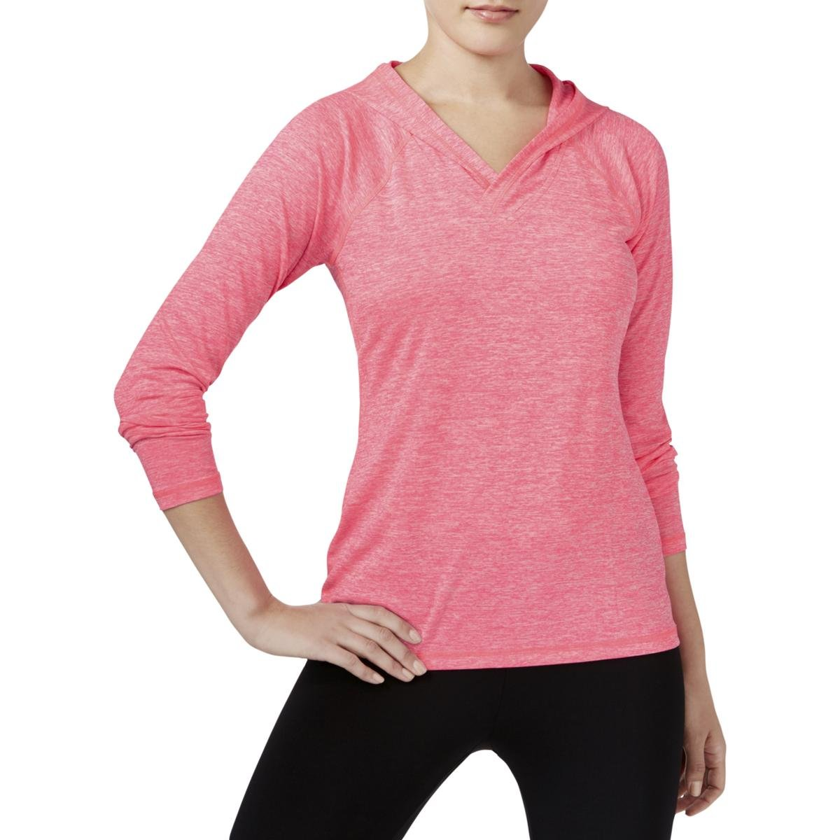 Ideology Womens Moisture Wicking Hooded Shirts & Tops Pink M
