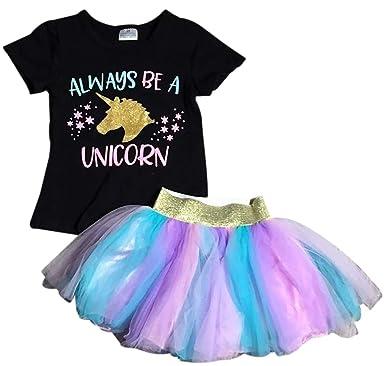 9c90d870323a1 Little Girls' 2 Pieces Skirt Set Always Be Unicorn Glitter Tutu Tulle Party  Skirt Set