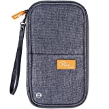 VanFn RFID Travel Passport Wallet, Family Passport Holder, Trip Document Organizer P.Travel Series (Grey)