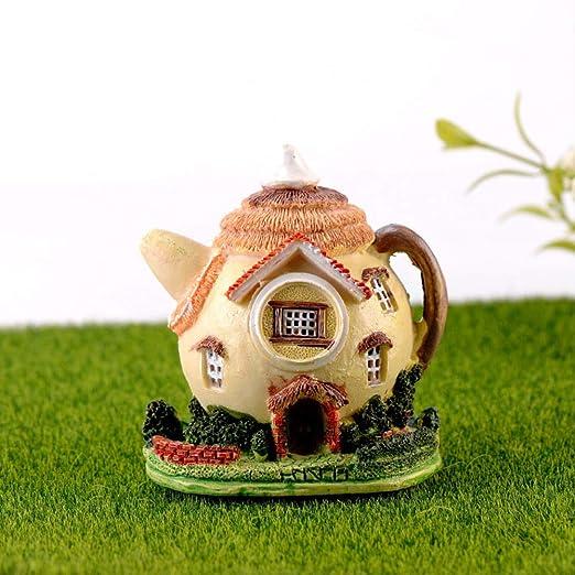 KWOSJYAL Casa De Tetera Miniatura Jardín De Hadas Mini Micro Musgo Paisaje DIY Terrario Accesorios Figuritas para Decoración del Hogar: Amazon.es: Jardín