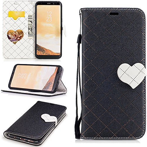 S8+ Case, Galaxy S8 Plus Case, Galaxy S8 Plus Wallet Case, Easytop Love Heart Design Faux Leather Flip Credit Card Holder Wristlet Shockproof Protective Wallet Case for Samsung Galaxy S8 Plus (Black)