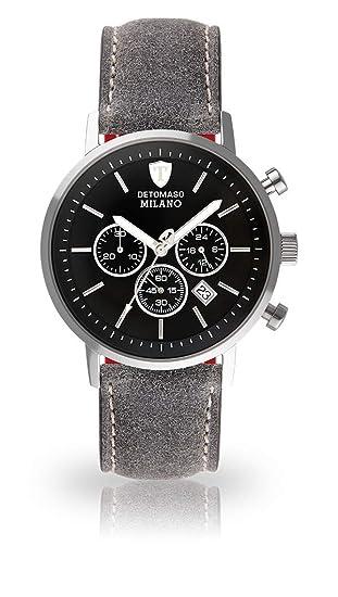 Detomaso Milano XL de Hombre Reloj de Pulsera Cronógrafo analógico de Cuarzo Gamuza de Piel Pulsera Esfera Negra dt1082 de D de 805: Amazon.es: Relojes