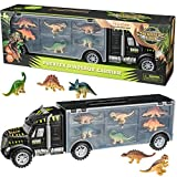 Prextex 16' Tractor Trailer Dinosaur Carrier with 6 Mini Plastic Dinosaurs