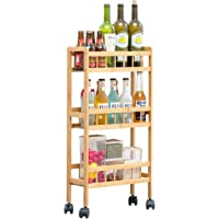 COPREE Bamboo 3-Tier Kitchen Removable Storage Cart, Slim Slide Out Rolling Pantry Shelf