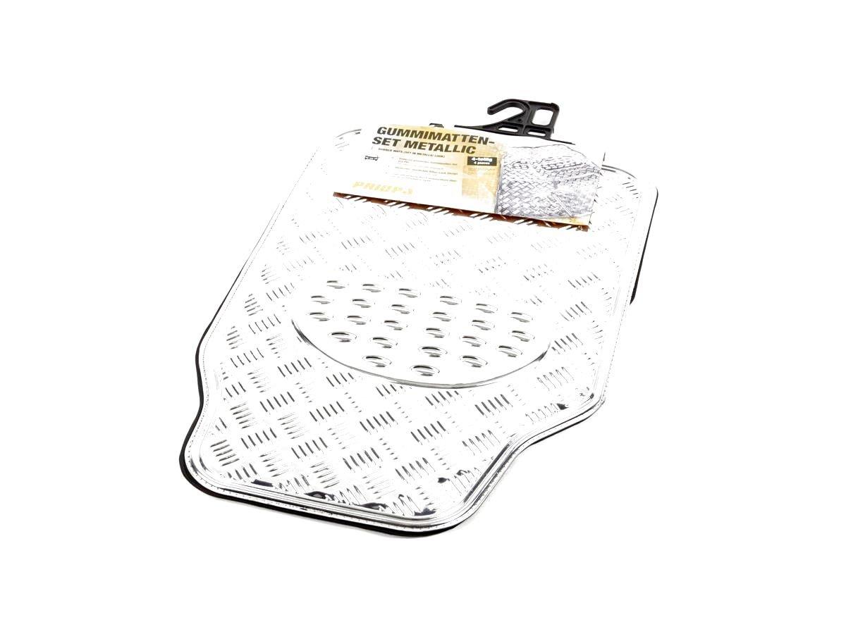 PRIOPA Gummi-Fuß matten-Set in Riffelblech-Optik 4-teilig, Universal, PVC+ALU - A036734 R.O.D. Leichtmetallräder Priopa
