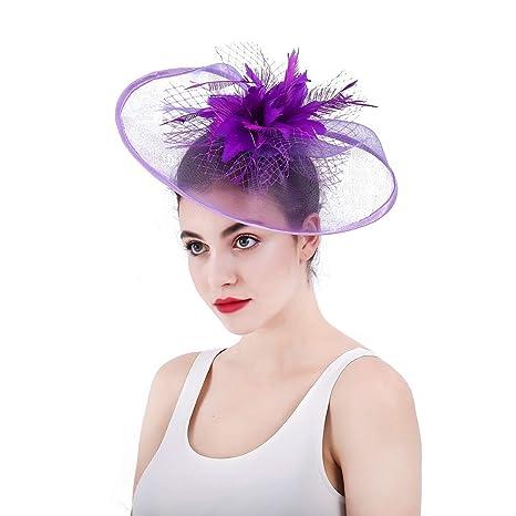 Ladies Vintage Elegante Donna Elegante Fascinator Cappello da Sposa Piuma  Copricapo Fiore Accessori per Capelli Clip adc8cab06c25