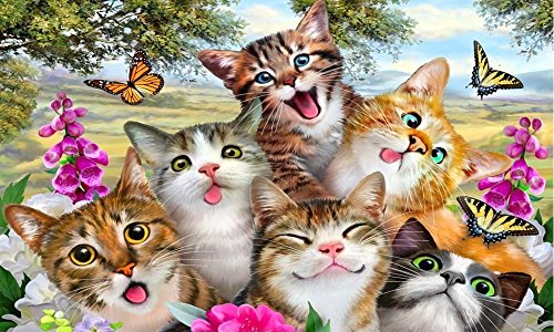 KXCFCYS New DIY 5D Diamond Painting Kit Diamond Embroidery Painting Pasted Paint By Number Kits Stitch Craft Kit Home Decor Wall Sticker - Cat Partners ()