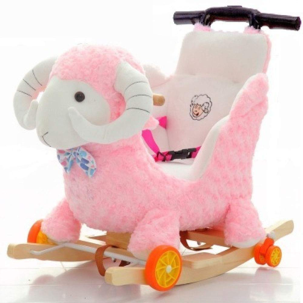B Rocking Horse Wooden, 2 In 1 Plush With Wheels,Baby Rocker,for Toddlers And Babies,C