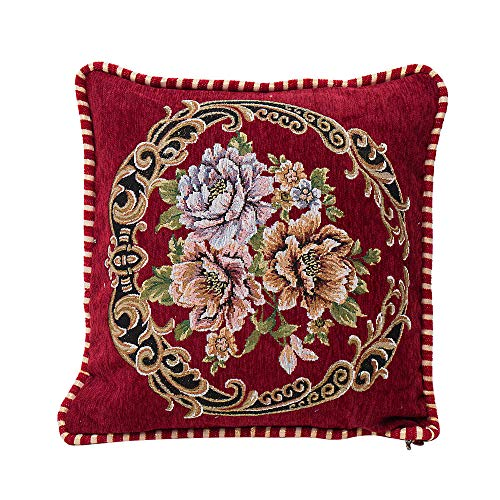 Alimao Chenille Square Pillow Cover Cushion Case Toss Pillowcase Hidden Zipper Closur