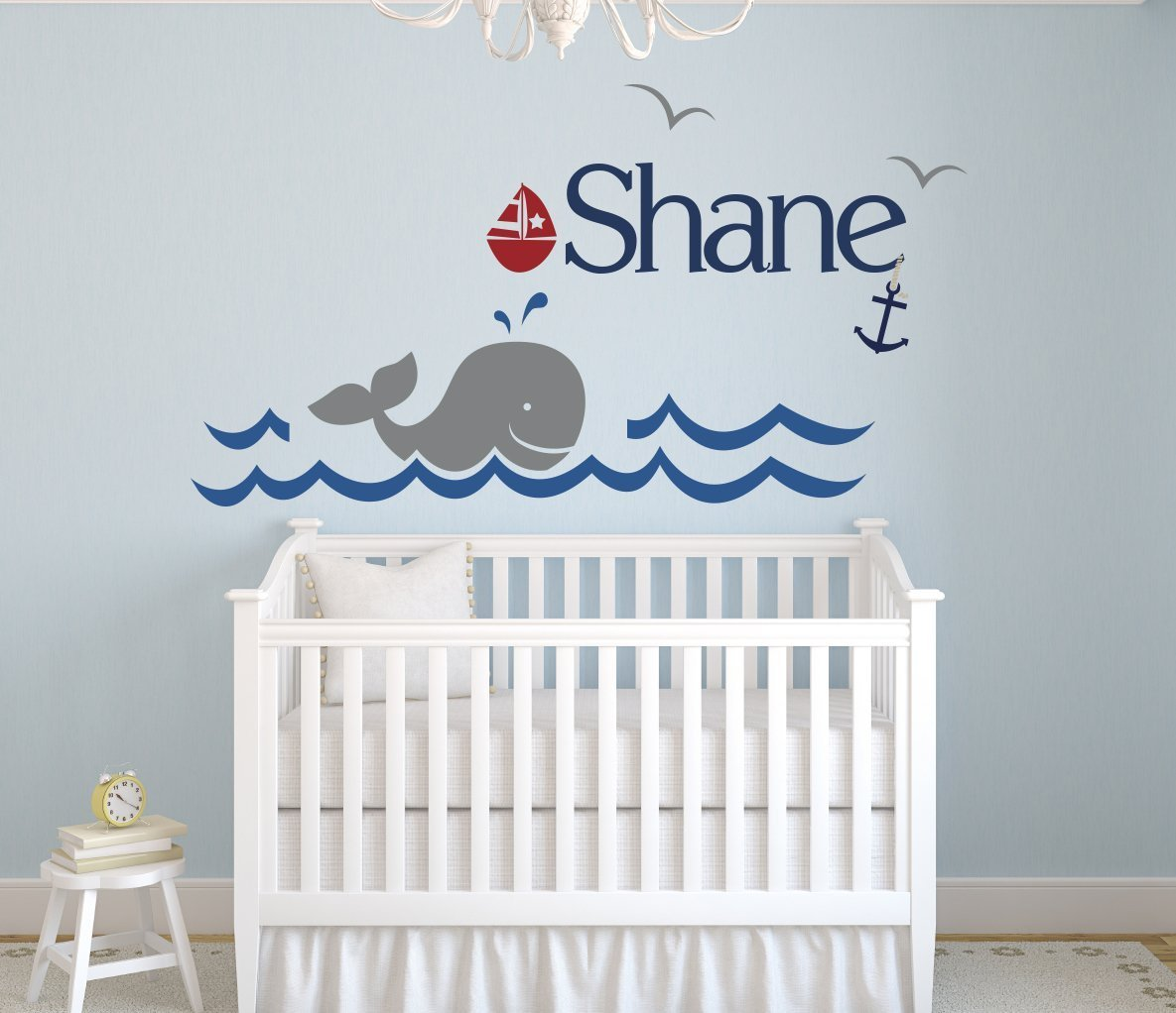 Amazon custom whale name wall decal boys kids room decor amazon custom whale name wall decal boys kids room decor nursery wall decals nautical wall decor 40wx22h baby amipublicfo Choice Image