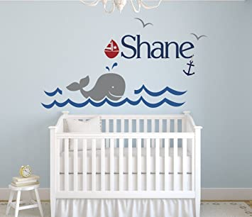 Custom Whale Name Wall Decal   Boys Kids Room Decor   Nursery Wall Decals    Nautical Part 42