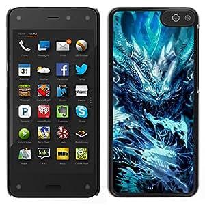 Caucho caso de Shell duro de la cubierta de accesorios de protección BY RAYDREAMMM - Amazon Fire Phone - Azul Spikes monstruo malvado oscuro Congelados
