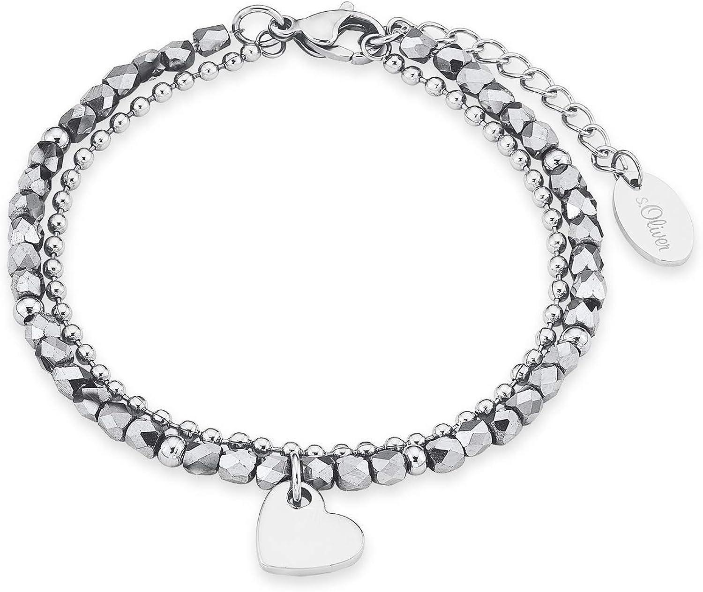 s.Oliver - Pulsera para mujer con colgante de corazón, de acero inoxidable brillante, con perlas de cristal plateadas, doble fila, longitud ajustable: 16-20 cm