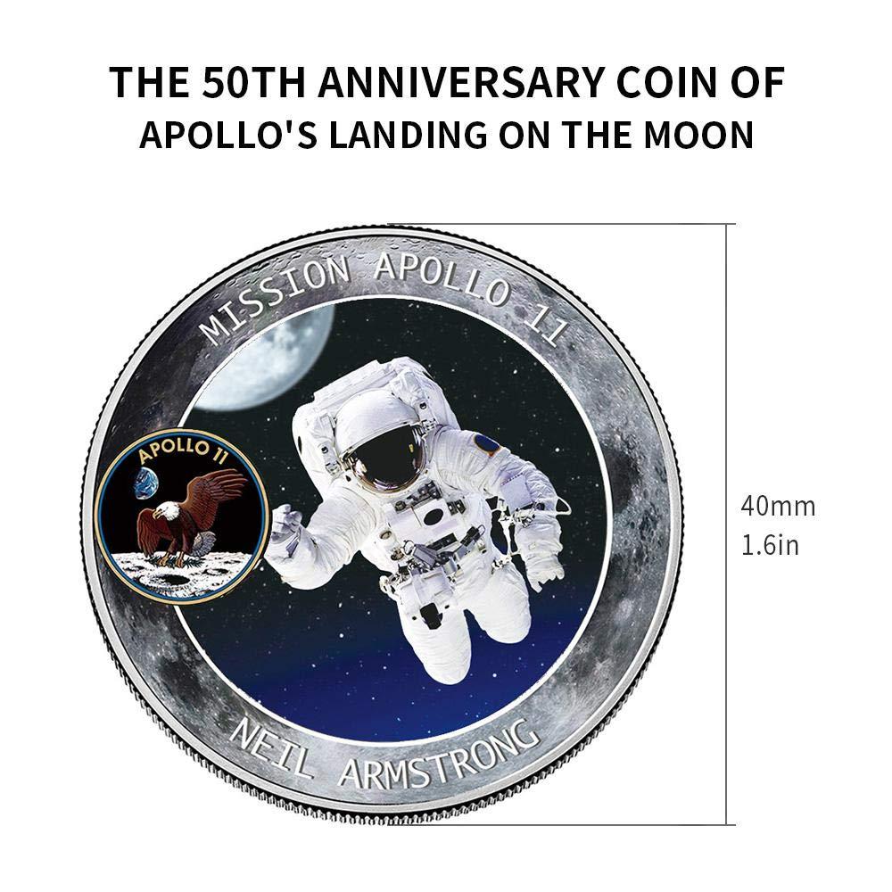 Womdee 2019 New Apollo Regalo de Recuerdo Moneda Conmemorativa del 50 Aniversario de la NASA Humans First Landing 2 Unidades colecci/ón de Joyas de Monedas