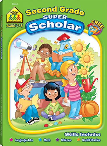 School Zone - Second Grade Super Scholar Workbook, Ages 7 to 8, Sentence and Story Structure, Parts of Speech, Reading Comprehension, Cause and Effect and More [School Zone Staff] (Tapa Blanda)
