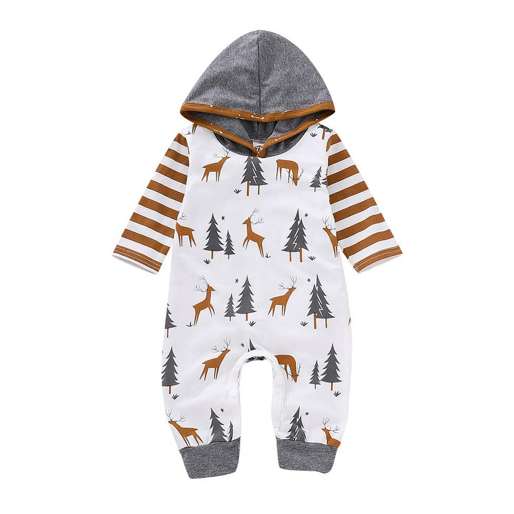 CSSD Newest Stylish Christmas Romper Kids Baby Girl Long-Sleeved Hooded Striped Romper Clothes (White, 3-6 M)