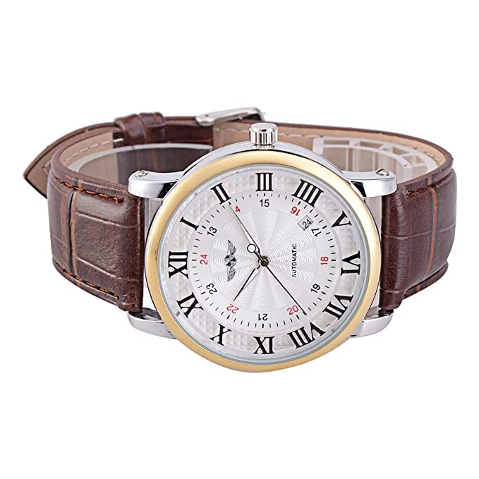 Amazon.com: Winner Brown Leather Roman Arabic Numerals Display Auto Mechanical Watches for Men Gift: Watches